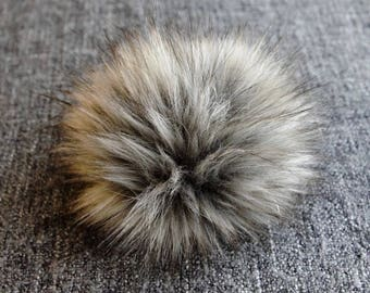 Size L (charcole grey flecked ) faux fur pom pom 6 inches/ 15cm