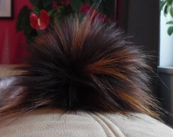 Size L (brown flecked) faux fur pom pom 6 inches/ 15cm