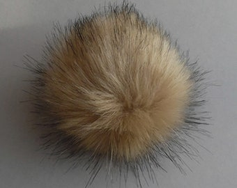 Size XS-XL (Camel beige-black tips) faux fur pompom 3.5- 6 inches / 9- 16 cm