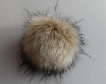 Size S-XL (beige flecked) faux fur pom pom 4.5- 6.5 inches/ 11- 17cm