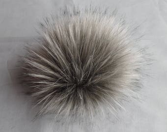 Size S-XL (Warm grey) faux fur pom pom 4.5- 6.5 inches/ 11- 16 cm