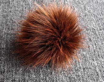 Size XS (Brown- red orange flecked) faux fur pom pom 4 inches/ 10cm
