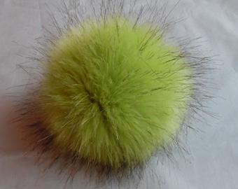 Size XL faux fur pom pom ( Green - black endings) 6 inches / 16 cm