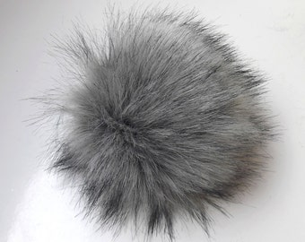 Size XL (charcole grey- black tips) faux fur pom pom 7 inches /17 cm