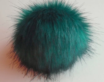 Size XL petrol turquoise faux fur pom pom 6.5 inches / 16 cm