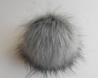 Size XL ( middle grey ) faux fur pom pom 7 inches /17 cm