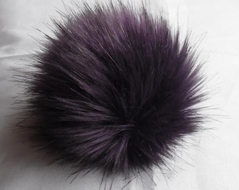 Size XL( eggplant ) faux fur pom pom 6.5 inches /16 cm