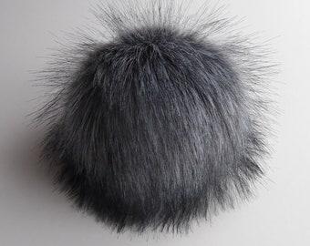"""Size M- XXL (Dark grey) faux fur pom pom 5- 7"""" inches /13- 18 cm"""