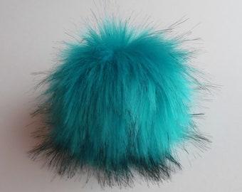 Size XS-XL (turquoise) faux fur pom pom 3.5- 6 inches/ 9- 16 cm