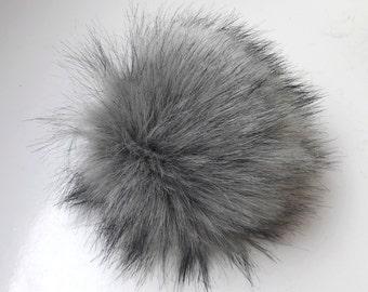 Size M (charcole grey- black tips) faux fur pom pom 5 inches/ 13cm