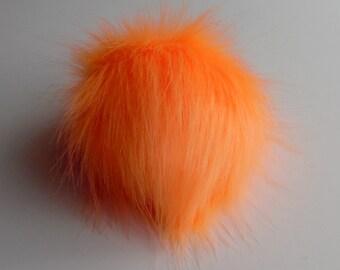 Size S ( vivid orange ) cream white faux fur pom pom 4.5 inches/ 11cm