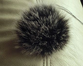 Size ''Mini'' (light meige tips) faux fur pom pom 3 inches/ 8 cm