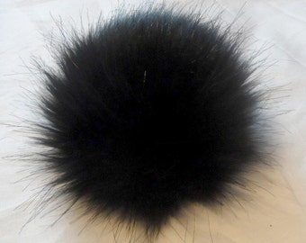 Size micro - XXL (high quality) black faux fur pom pom 2.3- 7 inches/ 6- 18 cm