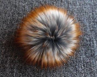 Size S, (Dark grey/ brown orange flecked) faux fur pom pom 4.5 inches/12 cm