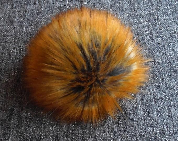 Featured listing image: Size S- XXL, (Dark grey/ brown orange flecked) faux fur pom pom 4.5- 7 inches/11- 18 cm