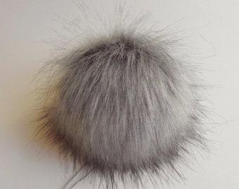 """Size M-XXL ( neutral grey ) faux fur pom pom 5-7"""" inches /13- 18 cm"""