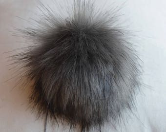 Size XS- XL ( anthracite - dark tips) Faux fur pompom 3.5- 6 inches / 9- 16 cm