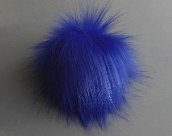 """Size M- XXL, (Warm Blue) faux fur pom pom 5-7"""" inches /13- 18 cm"""