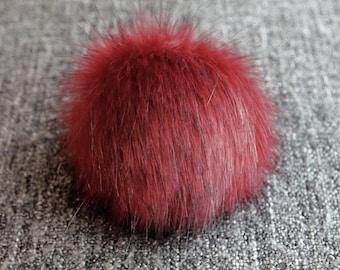 Size XS- XXL (Red wine) faux fur pom pom 3.5 -7.5 inches/ 9- 18 cm
