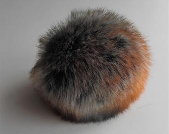 Size M- XL, multi colored ( blue-grey and orange ) faux fur pom pom 5- 6.5 inches/13- 16 cm