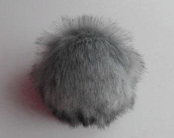 Size M-XL,( iron grey- black tips ) faux fur pom pom 5 - 6.5 inches/13- 16 cm