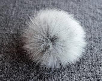 "Size M ( light grey- dark tips) Faux fur pompom 5""/ 13cm"