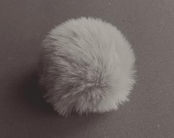 mouse grey light, faux fur pom pom 2.3- 2.7 inches/ 6- 7 cm