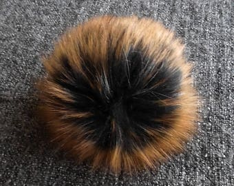 Size S-XΧL, (Black/ brown orange flecked) faux fur pom pom 4.5- 7 inches/11- 18 cm