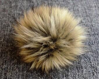 Size M ( beige flecked ) faux fur pom pom 5 inches/ 13cm