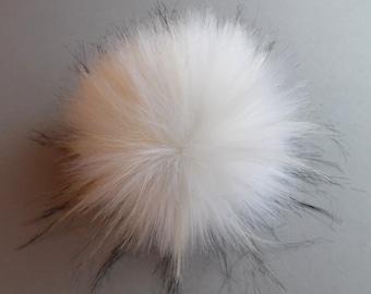 Size M- XL ( cream white- black flecked) faux fur pom pom 5- 6.5 inches / 13- 16 cm