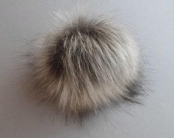 Size S-XXL (warm gray- beige tips) faux fur pom pom 4-7 inches/ 11- 18cm