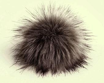 Size S-XL (Warm grey) faux fur pom pom 4.5- 6.5 inches/ 11- 16 cm