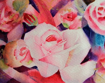 "Roses abstract 6.40""x9.40""(print of my watercolor painting)"