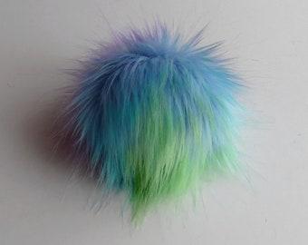 Size S- L ( blue - cold tips ) faux fur pom pom 4- 5.5 inches/ 10- 14cm