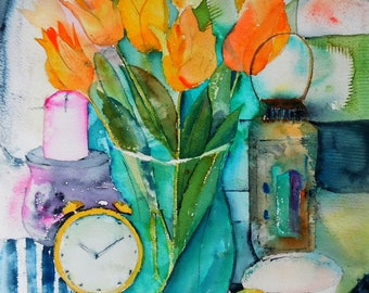 "Still life abstract 6.40""x9.40""(print of my watercolor painting)"
