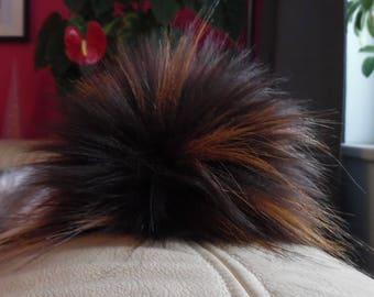 Size S (brown flecked) faux fur pom pom 4.5 inches/ 12cm