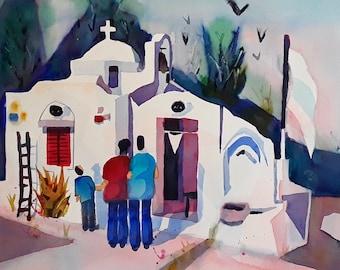 Greek chapel- original watercolor (12'' x 18'') / (30 x 45 cm)