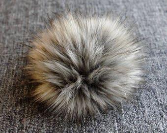 Size M (charcole grey flecked ) faux fur pom pom 5 inches/ 13cm