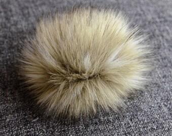 Size M ( beige 2 ) faux fur pom pom 5 inches/ 13cm