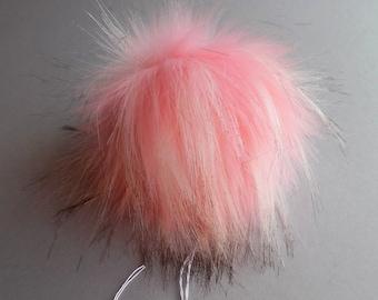 Size S-XXL (Light pink flecked) faux fur pom pom 4.5- 7 inches /12- 18 cm