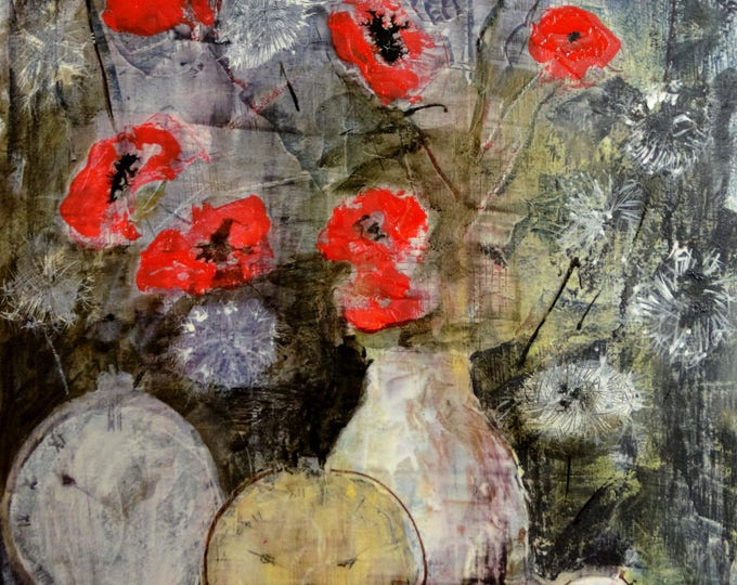 """Featured listing image: Poppies and dandelions Watercolor + acrylic 12""""x18""""/ 33x47cm"""