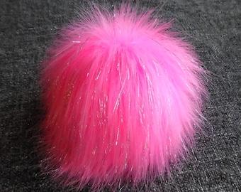 Size L, (Pink-Silver threads) faux fur pom pom 5.5 inches/15 cm