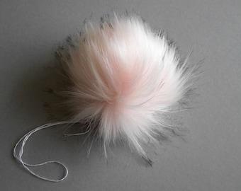 Size M-XXL (Lighter pink flecked) faux fur pom pom 5-7.5 inches/ 13- 18 cm