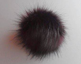 Size XS-XL (Very Dark Mauve- black tips) faux fur pompom 3.5- 6 inches /9- 16 cm