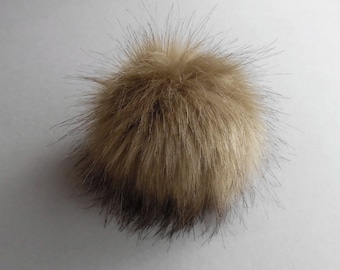 Size XS-XL (Walnut cold- dark tips) faux fur pompom 3.5- 6 inches / 9- 16 cm