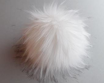 Size M-XXL (warm white /few black tips) faux fur pom pom 5- 7.5 inches / 13- 18 cm