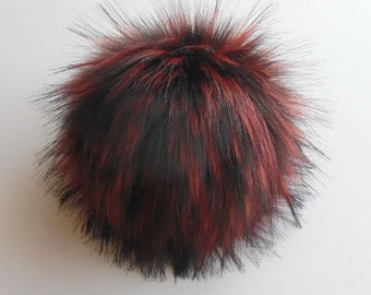 Size M-XXL, ( Black-burgundy flecked ) Faux fur pompom 5- 7.5 inches / 13- 18 cm