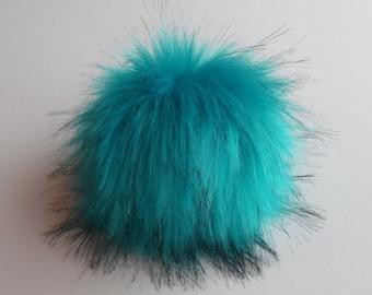 Size XS-L (turquoise) faux fur pom pom 3.5- 6 inches/ 9- 16 cm