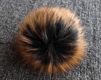 Size M, (Black/ brown orange flecked) faux fur pom pom 5 inches/13 cm