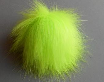 """Size M- XXL (Neon Yellow) faux fur pom pom 5-7"""" inches /13- 18 cm"""